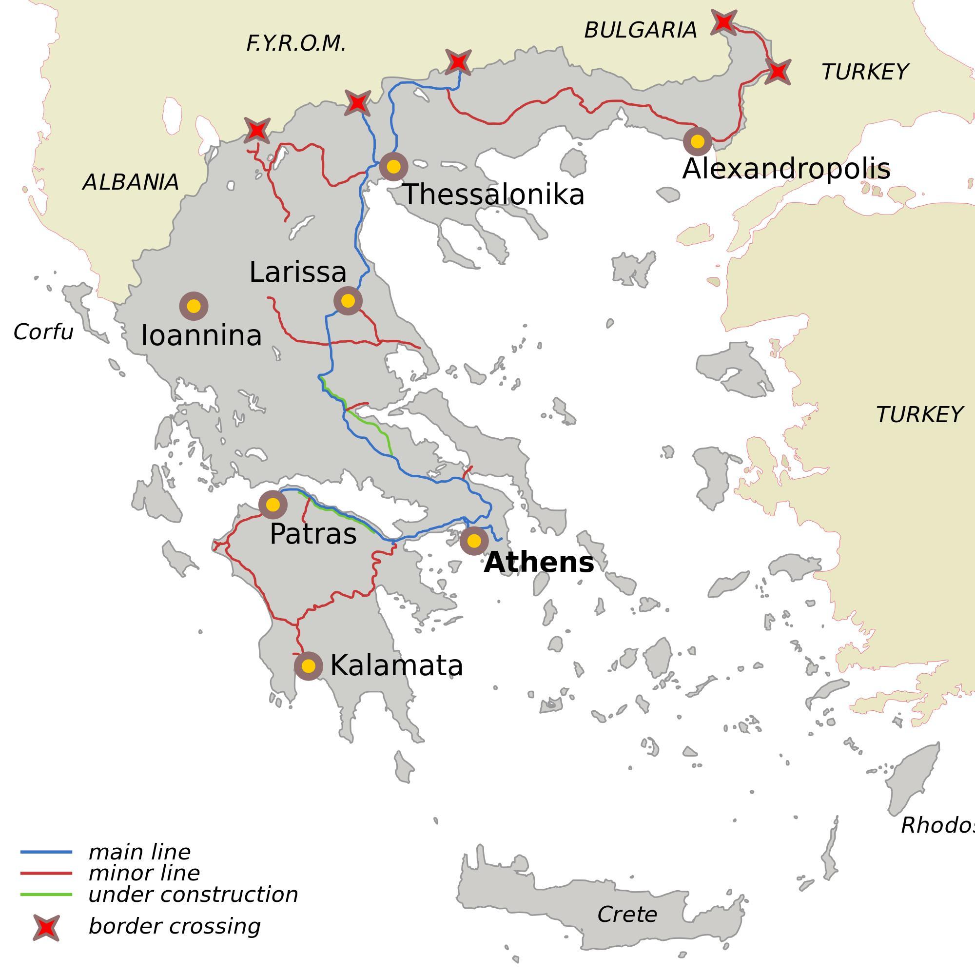 eisenbahn griechenland karte Griechenland Eisenbahn Karte   Griechische Eisenbahnen Karte