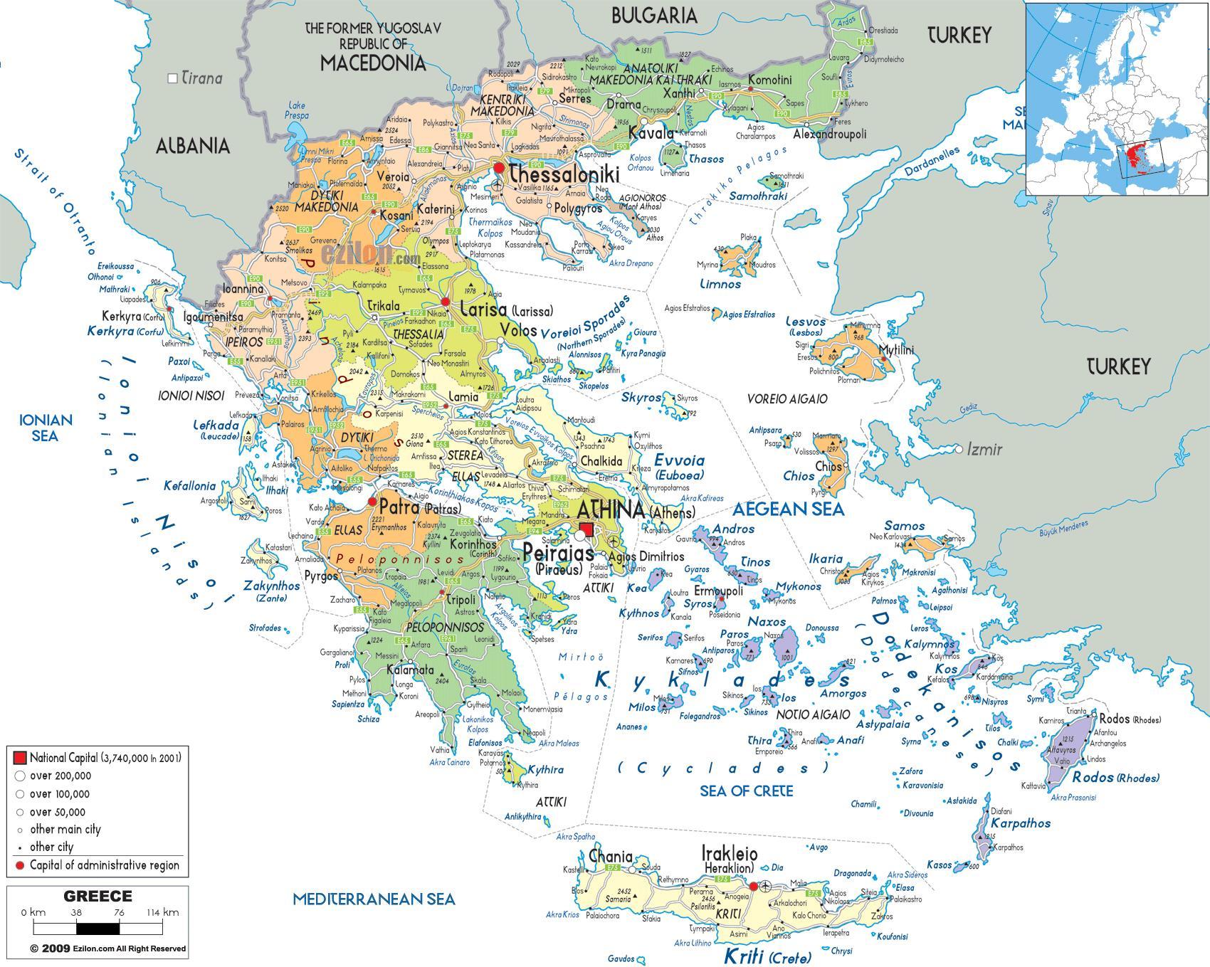Karte Von Europa Mit Städten.Griechenland Städte Karte Karte Von Griechenland Mit Den Städten