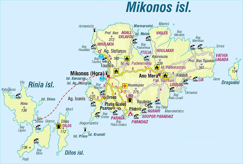 mykonos karte Karte Mykonos Griechenland   Karte von Griechenland Mykonos