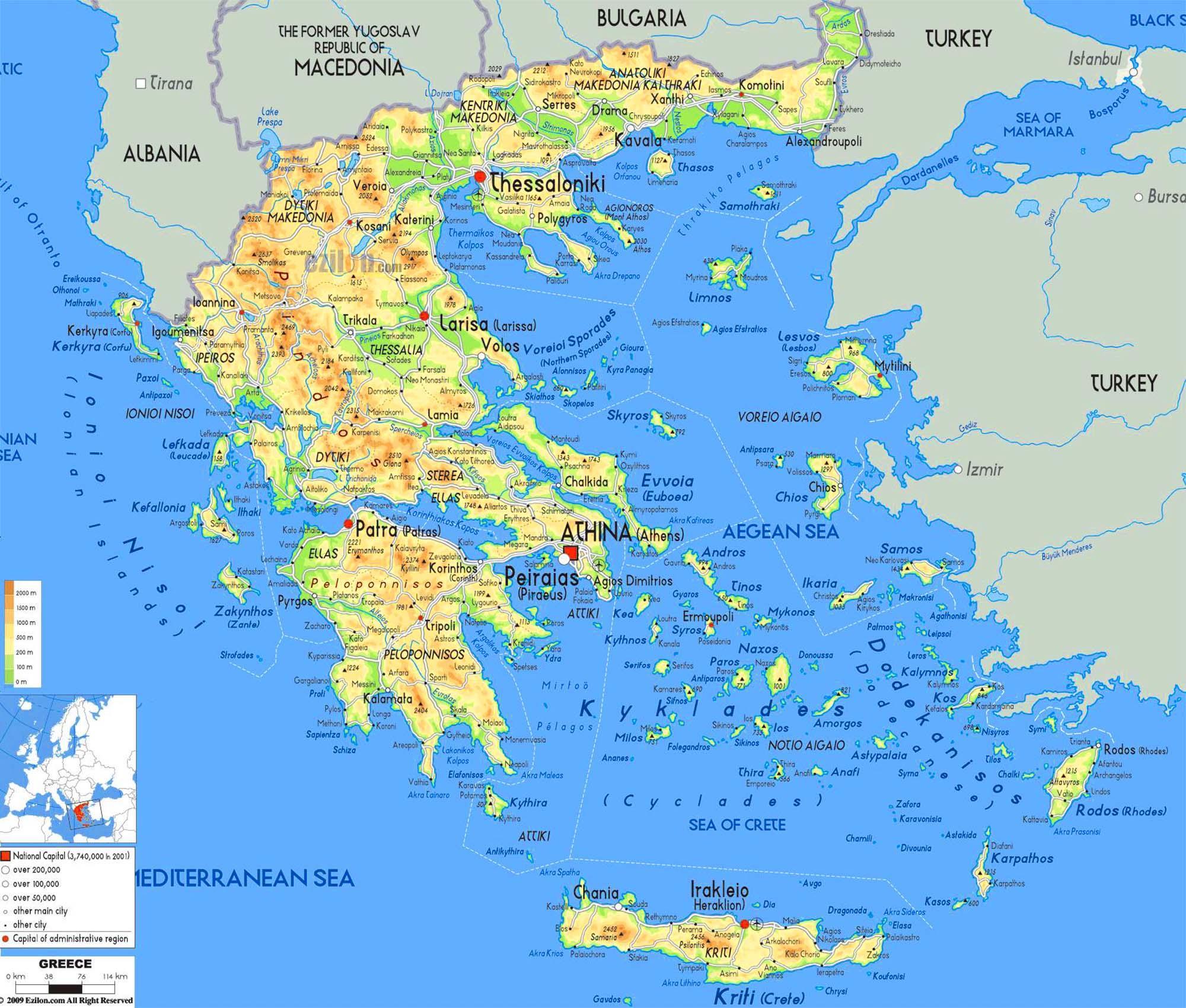 Landkarte Griechische Inseln Karte Der Griechischen Inseln