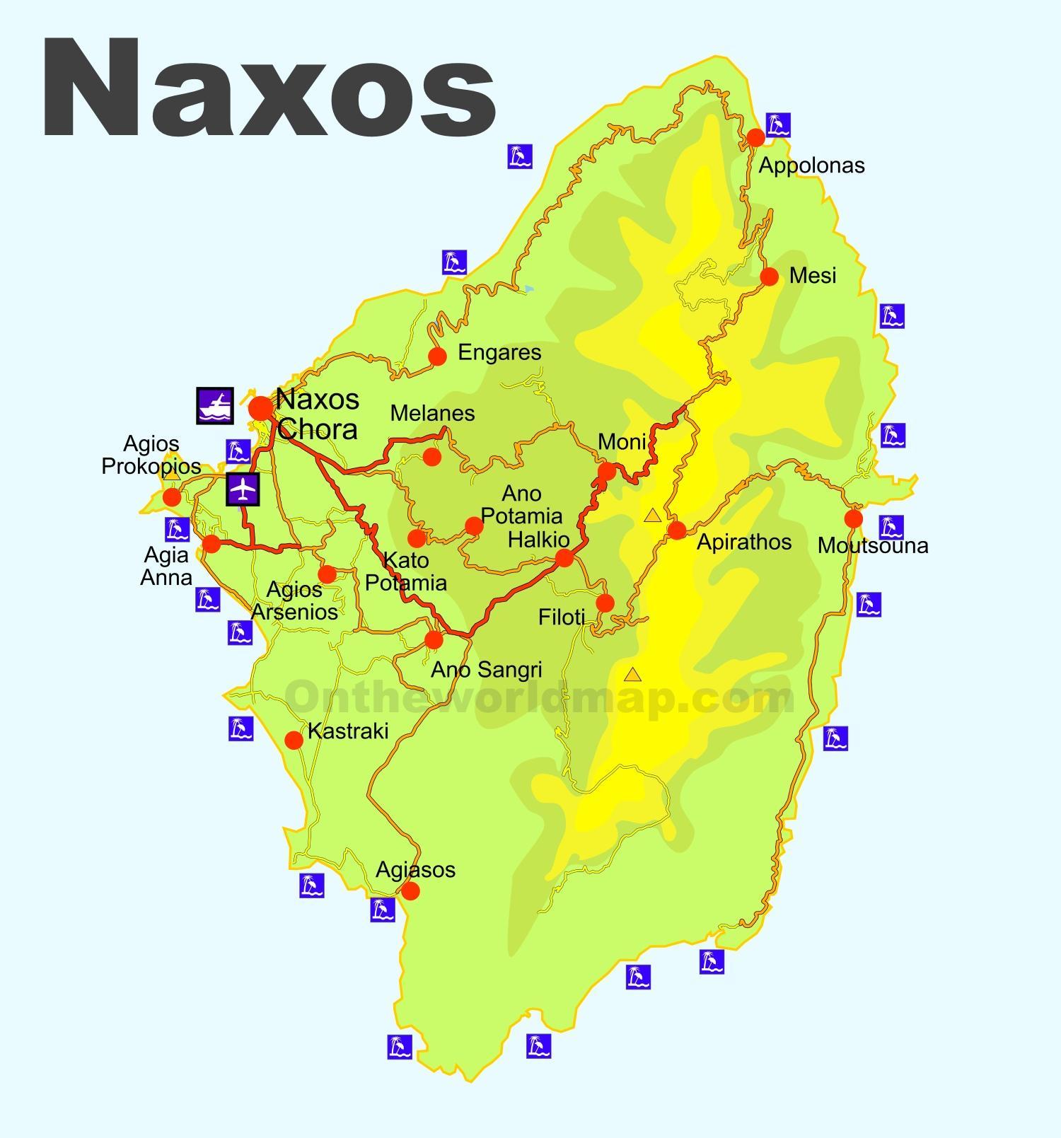 naxos karte griechenland Naxos, Griechenland Karte   Karte von Naxos Griechenland (Europa
