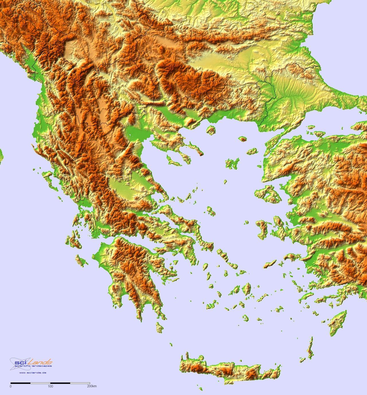 Topographische Karte Griechenland Topographische Landkarte