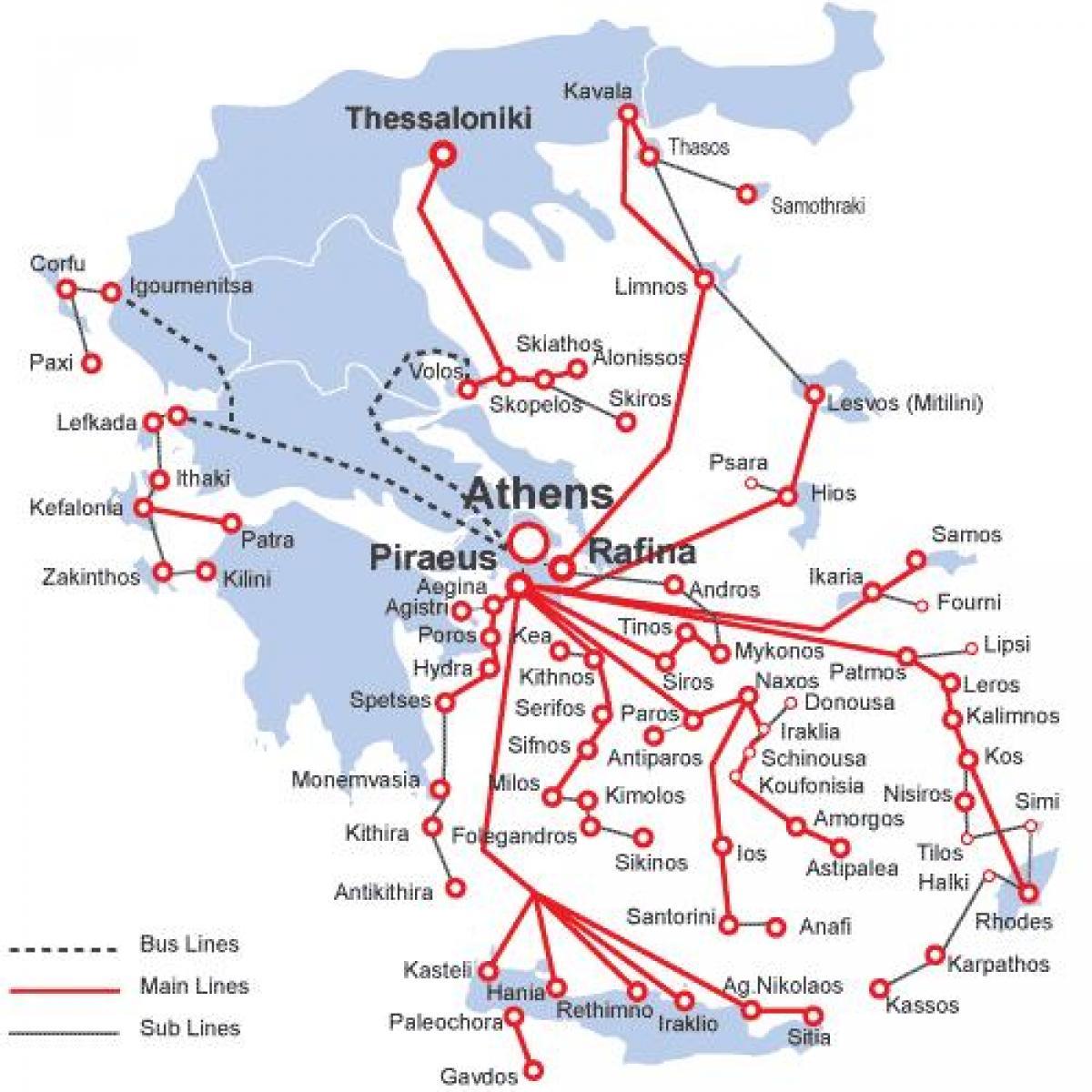 fährverbindungen griechenland karte Die Griechische Insel Fähre Karte   Landkarte Griechische Inseln
