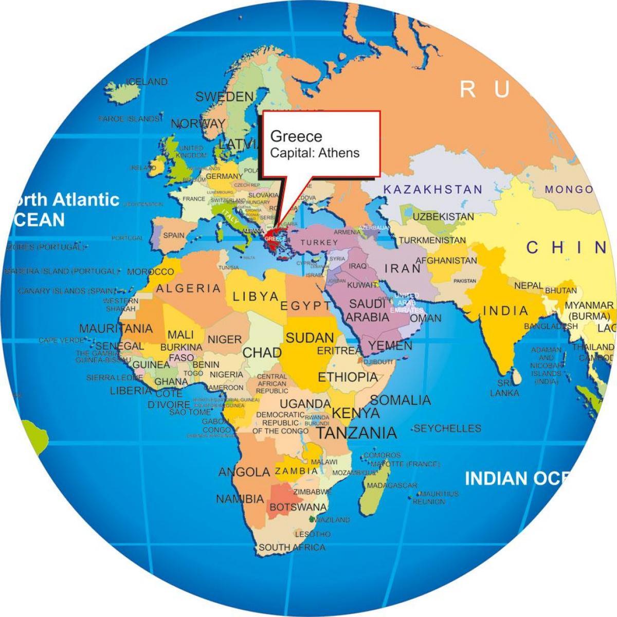 Griechenland Karte Welt Griechenland Auf Einer Weltkarte Europa
