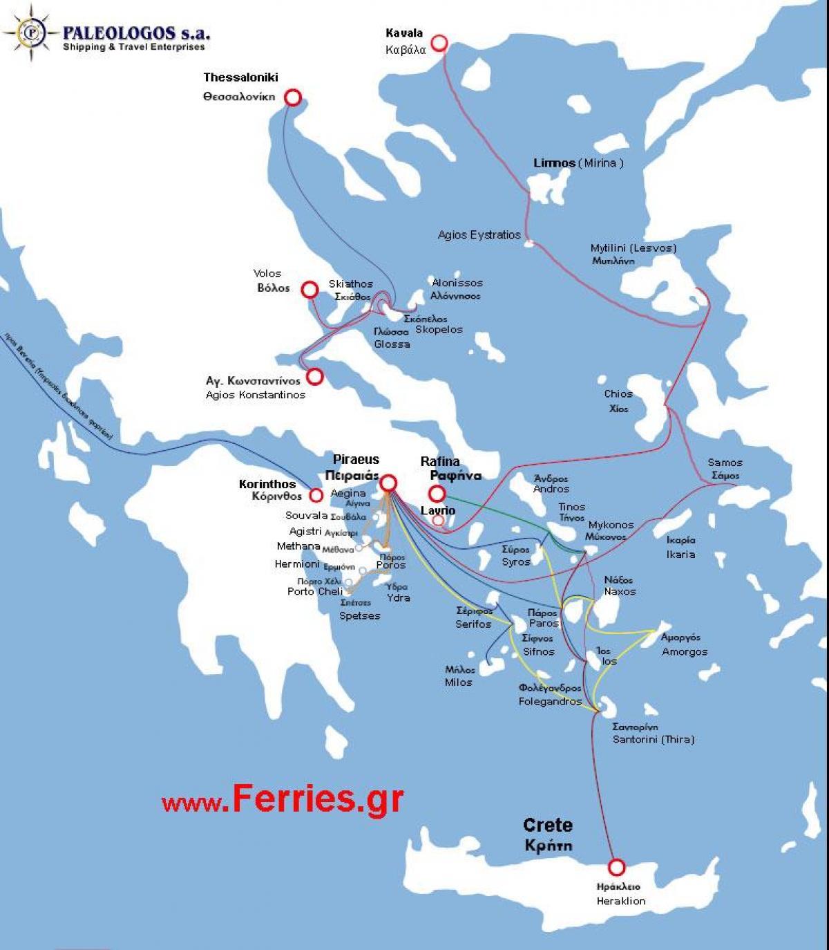 Die Griechische Insel Fahrverbindungen Karte Landkarte