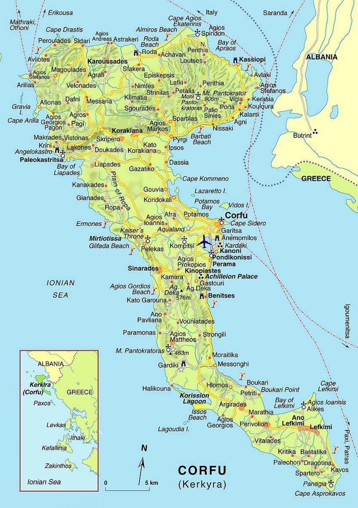Korfu Griechenland Karte Karte Von Corfu Griechenland Europa